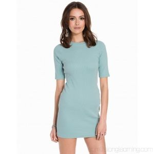 TURQUOISE RIBBED BODYCON DRESS